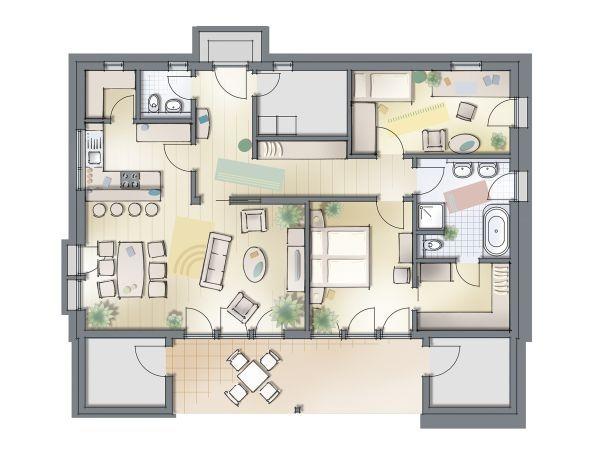Nuove villette monopiano haas for Piante case moderne