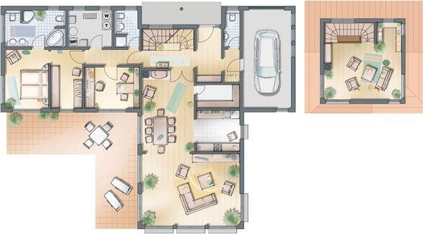 Nuove villette monopiano haas for Piante di case moderne