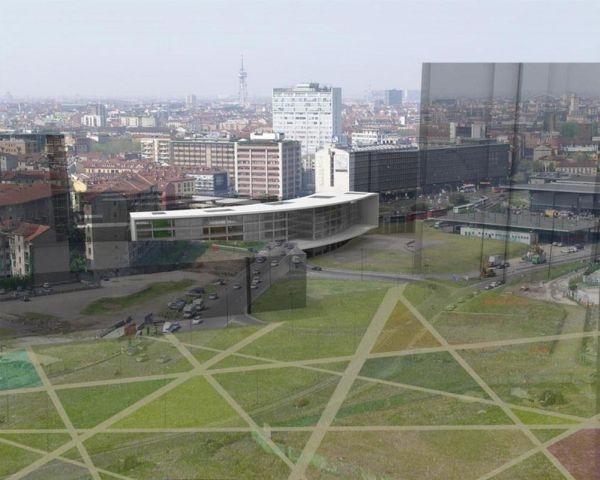 Vista generale dell'edificio e dell'area di progetto