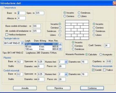 Software di calcolo pareti in blocchi calcestruzzo