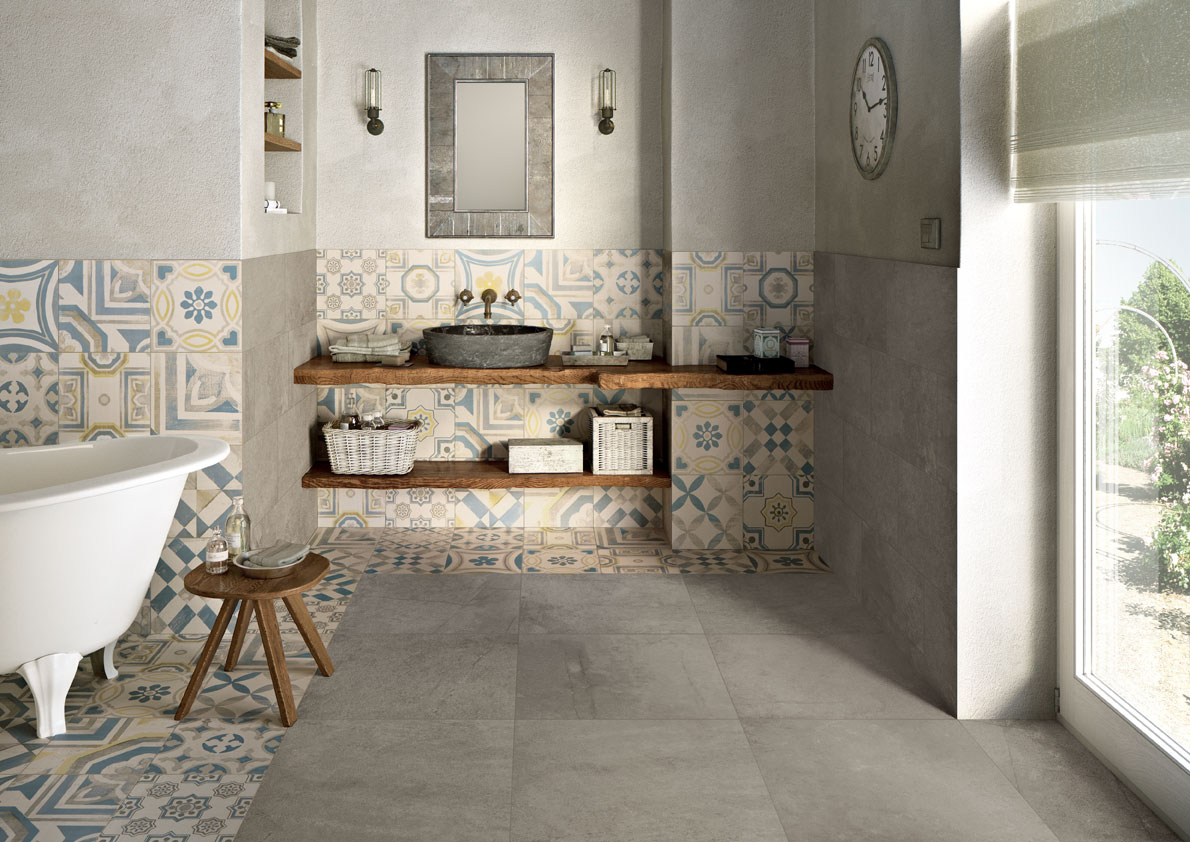 Cementine gres porcellanato decorato