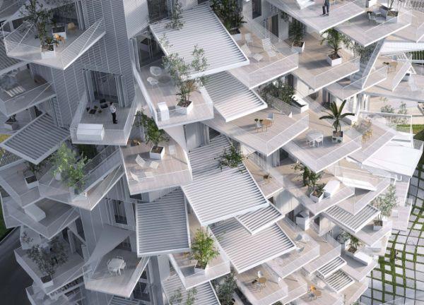I balconi che caratterizzano il progetto l'Arbre Blanc a Montpellier