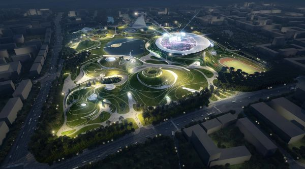 Rendering del Quzhou Sports Campus progettato da MAD