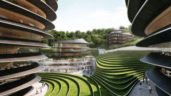 Rendering piazza centrale del nuovo complesso di edifici che sorgerà a Taiping in Cina