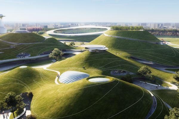 Le strutture quasi invisibili incastonate nel verde del Quzhou Sports Campus