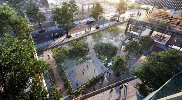 Le passerelle fuori terra che collegano gli edifici della sede Vanke Group a Shenzhen, in Cina