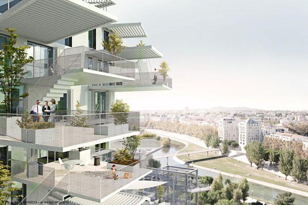 I balconi che caratterizzano il progetto l'Arbre Blanc di Montpellier