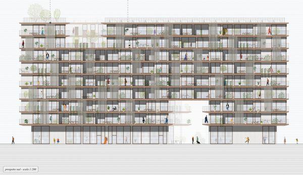 Prospetto sud progetto vincitore concorso House-in-Milanosesto