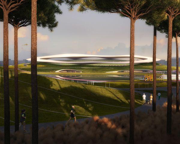 L'anello semi trasparente sopra lo stadio principale del Quzhou Sports Campus