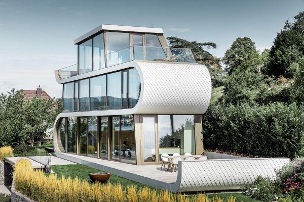 Scaglie Prefa per l'abitazione dell'architetto Camenzind sul lago di Zurigo