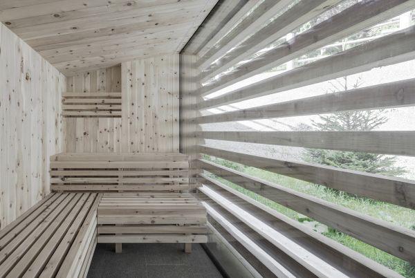 La sauna comune di 5 appartamenti Chalet Odles