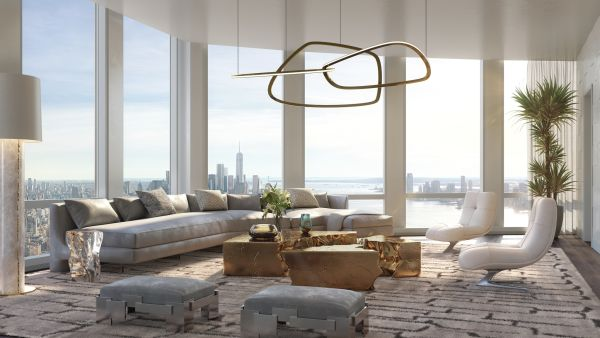 Interno di uno degli appartamenti in costruzioni nell'Hudson Yards a New york