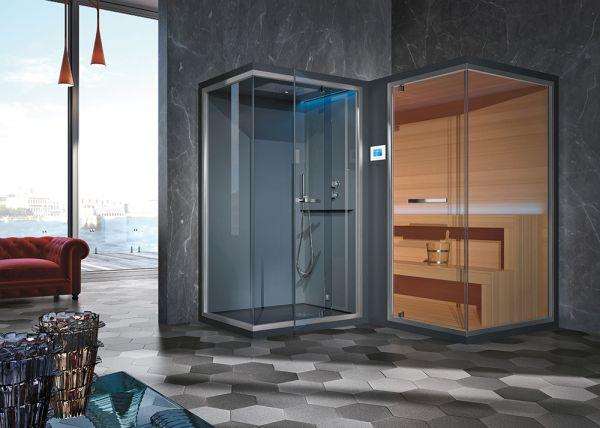 Ethos L sauna + spazio doccia con bagno turco di Saunavita
