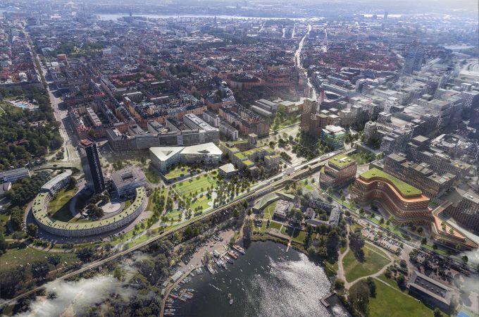 Vista dall'alto del quartiere di Hagastaden e i nuovi uffici progettati da 3XN a Stoccolma