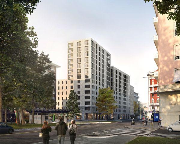 Render della residenza studentesca di via Giovenale a Milano (Calzoni Architetti)