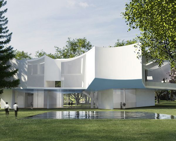 Rendering progetto di Steven Holl Visual Arts Center Susan e Benjamin Winter