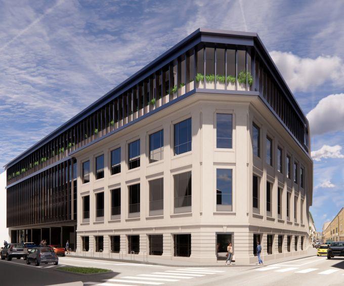Render del nuovo edificio ristrutturato in via Quadrio a Milano