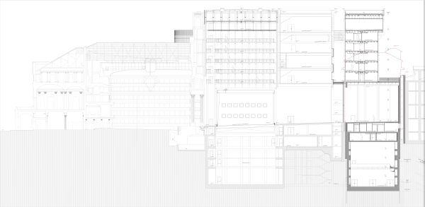 Sezione longitudinale del complesso teatrale della Scala