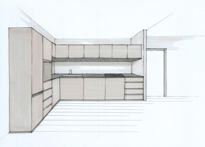 Prospettiva dall'alto di un appartamento in cui la zona giorno e l'angolo cucina sono situati in un unico ambiente, con due schizzi del progetto.
