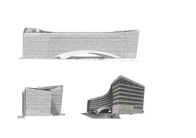 Disegni del nuovo quartier generale di Le Monde Group a Parigi
