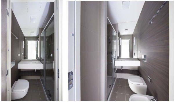 Due esempi di bagno del sistema Wood Beton (a sinistra, modello tedesco; a destra il modello italiano)