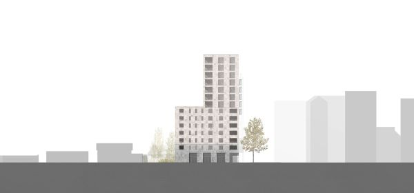 Il prospetto sud della residenza universitaria di Milano (Calzoni Architetti)
