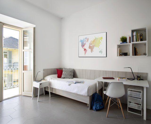 Gli appartamenti interni dello studentato di via Palestro 3 a Torino