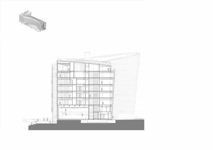 Sezione del nuovo quartier generale di Le Monde Group a Parigi