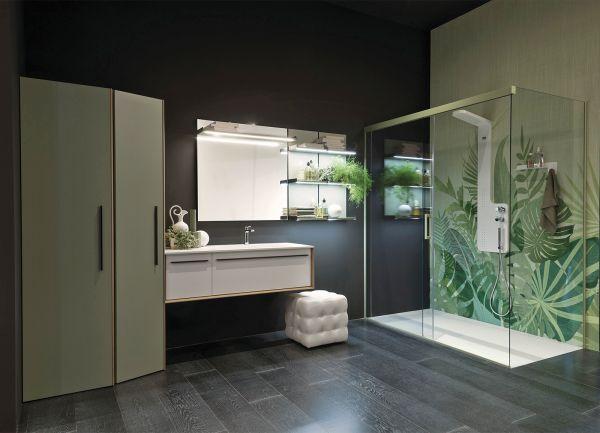 La lavanderia di Gruppo Geromin: top moderno lavabo abbinato ai piatti doccia.