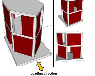 Test dinamico di un edificio a 2 piani su tavola vibrante