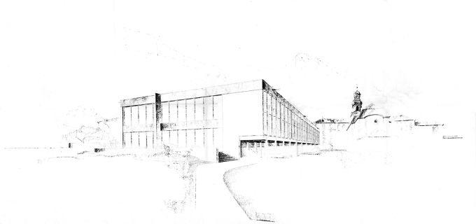 Vista in prospettiva del progetto originario dell'Accademia Cusanus di Otmar Barth