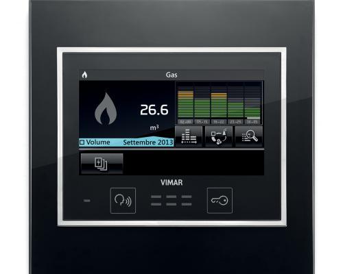 Visualizzazione del consumo di acqua calda da Touch screen 4,3 pollici full flat con placca Eikon Evo