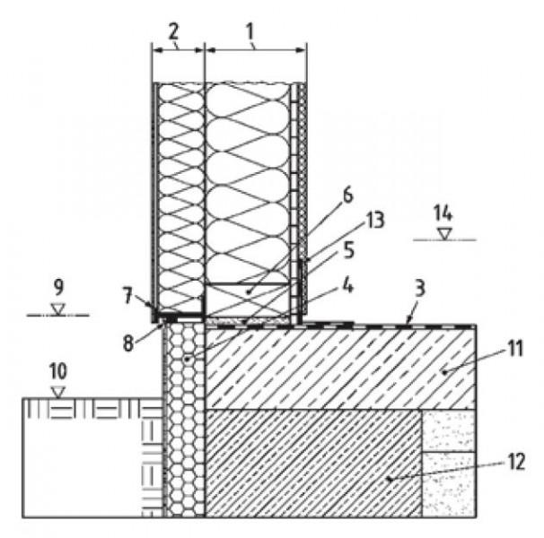 Soluzione per l'attacco a terra con innalzamento della quota di pavimento interno rispetto alla quota del pavimento esterno non drenante (fonte: DIN 68800-2-:2012-2).