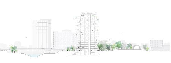 Pianta progetto L'albero bianco di Fujimoto a Montpellier