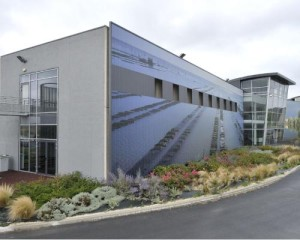 Sthyppolite-VT: Water treatment facility in St. Hyppolite, France - Local landscapes design on steel cladding