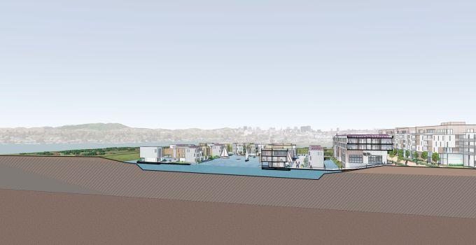 Baia di San Francisco: Sezione del quartiere galleggiante di Tidal Cities