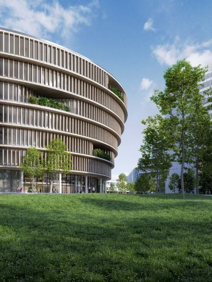 Esterno dell'edificio Forskaren con il rivestimento di doghe in legno (credits, 3XN)