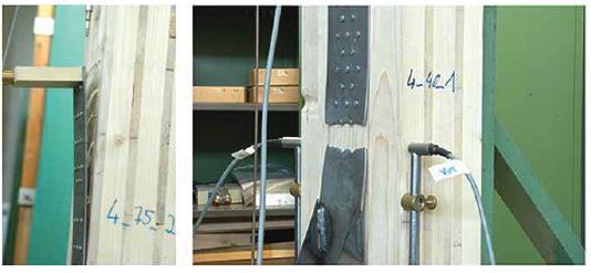 2. Possibili rotture in corrispondenza di una connessione metallica: duttile (lato chiodi per rifollamento del legno) e fragile (lato acciaio per trazione netta).