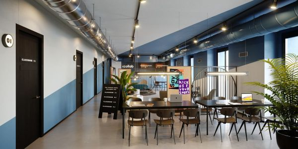 Gli spazi di coworkink all'interno di The Student Hotel Firenze Lavagnini