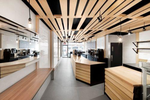 Soffitti In Legno Design : Panetteria a montreal in legno tulipier