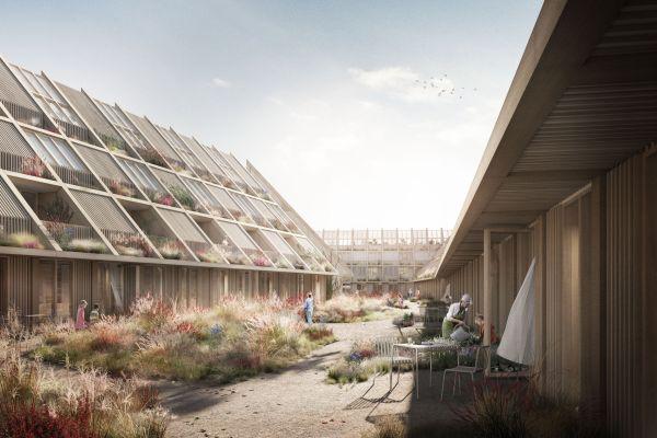 Uno dei cortili interni del complesso New Angle in Danimarca
