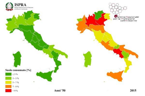 Il consumo di suolo in Italia: Anni '50 e 2015 (fonte Ispra)