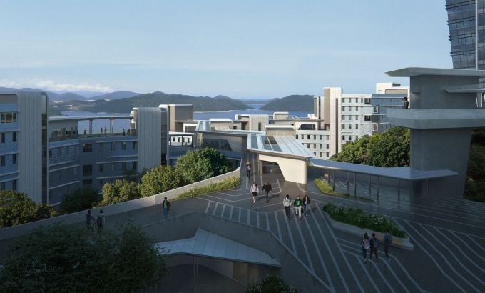 L'ingresso del nuovo studentato alla Hong Kong University of Science and Technology