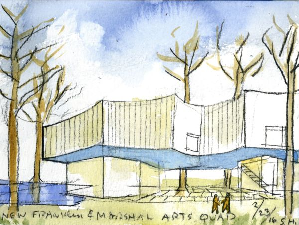 Acquerello di Steven Holl del Visual Arts Center di Lancaster