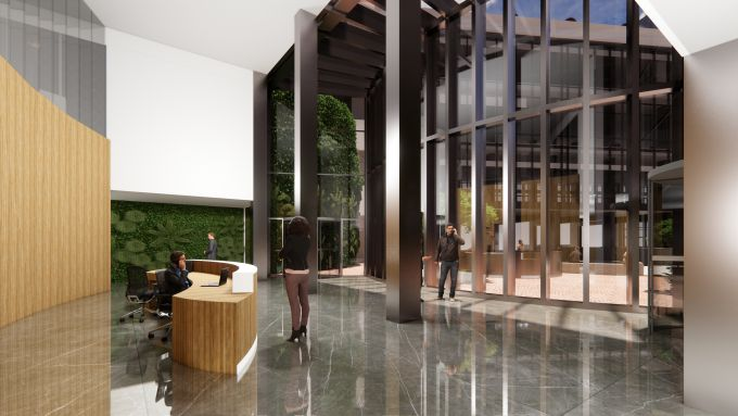 Render della lobby d'ingresso dell'edificio in via Quadrio a Milano