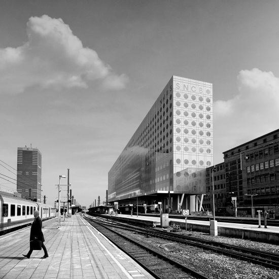 Render della nuova stazione ferroviaria di Bruxelles dai binari (copyright Oma)
