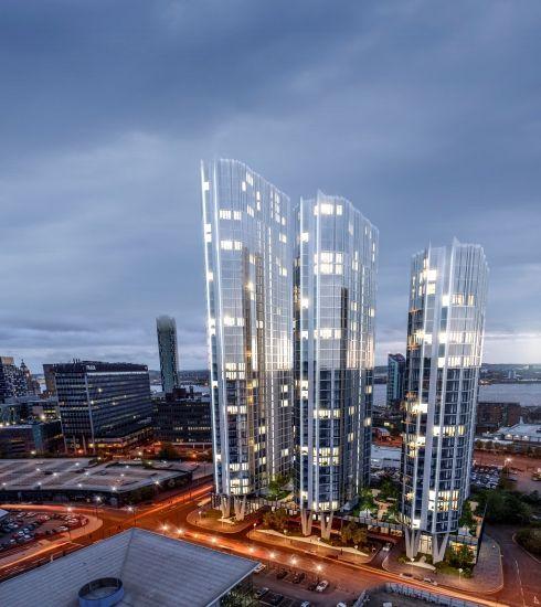Render delle tre torri Infinity in via di costruzione a Liverpool