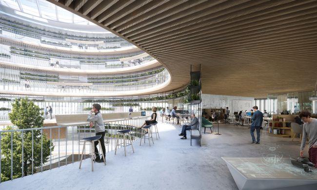 Interno dell'edificio Forskaren con gli spazi di lavoro