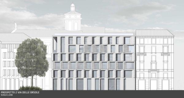 Prospetto progetto di riqualificazione edificio via delle Orsole di Milano
