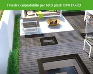 Nuova finestra calpestabile per tetti piatti DXW FAKRO